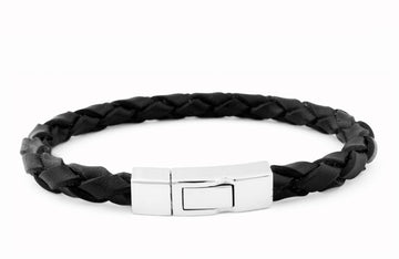 SINGLE WRAP SCOUBIDOU BLACK LEATHER BRACELET WITH SILVER CLASP