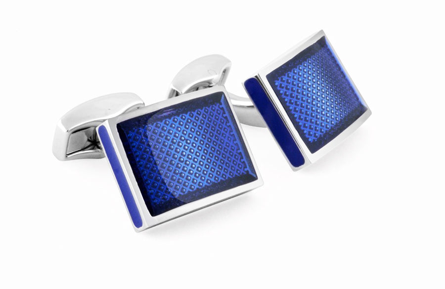 RETTANGOLO ICE CUFFLINKS IN BLUE
