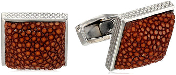 Tateossian Rhodium Brown Pyramid Stingray Cufflink
