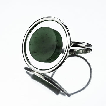 Sterling silver full circle ring featuring a nephrite stone