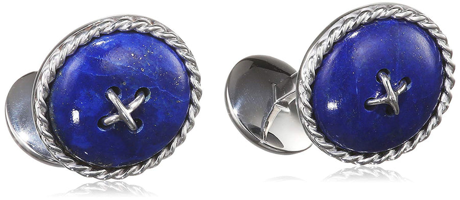 Tateossian Sterling Silver Cable Button Double Ended Cufflinkwith Lapis Semi Precious Stone