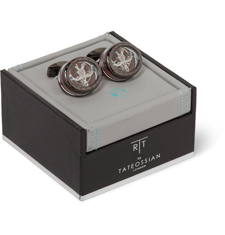 Panorama Tourbillon Rhodium-Plated Cufflinks