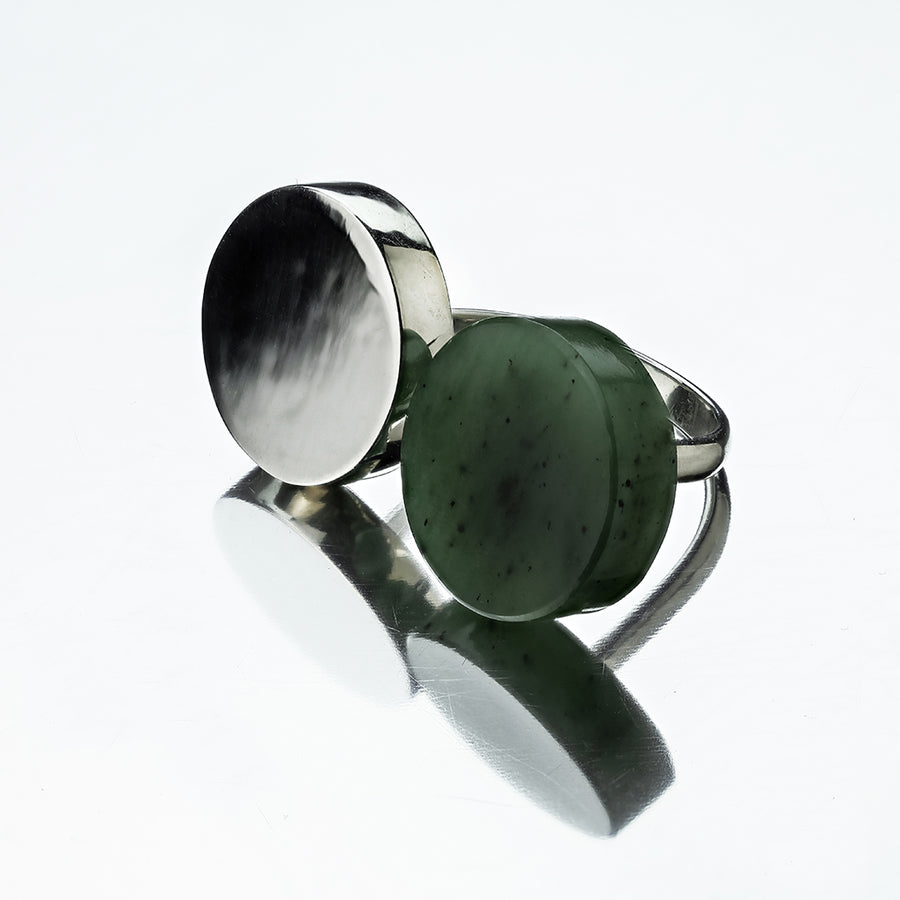 Sterling Silver Circulous Ring with Nephrite