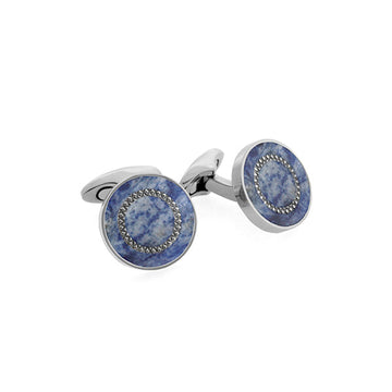 Circle Cufflink in Titanium and Blue Sodalite