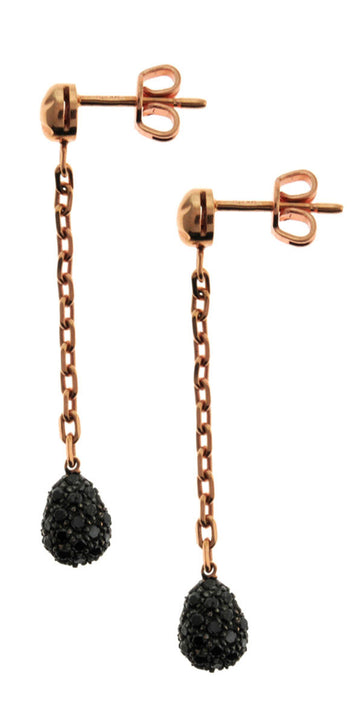 BLACK D - GOLD-BLACK DIAMOND EARRINGS - 18K