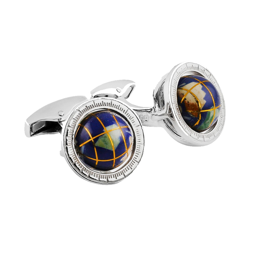 GLOBE CUFFLINKS IN SILVER WITH SEMI PRECIOUS STONE