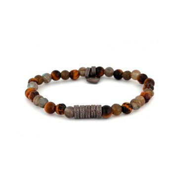 Gun Tyres Bracelet in Tiger Eye & Labrodonite