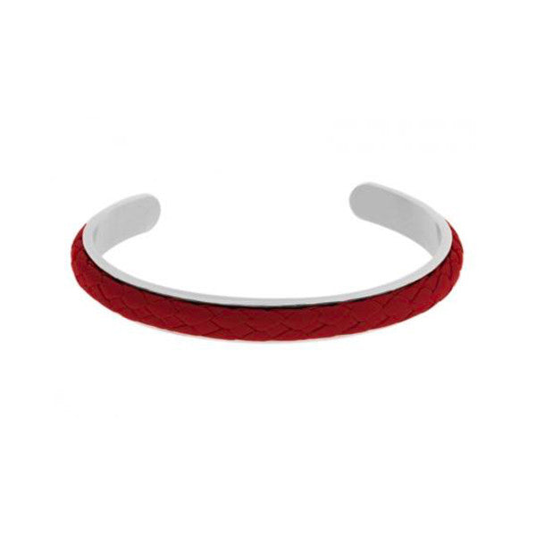 Intercciato Leather Bangle in Red