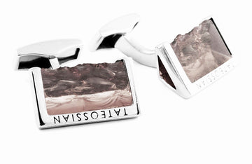 ROUGH EDGE SMOKY QUARTZ SILVER CUFFLINKS