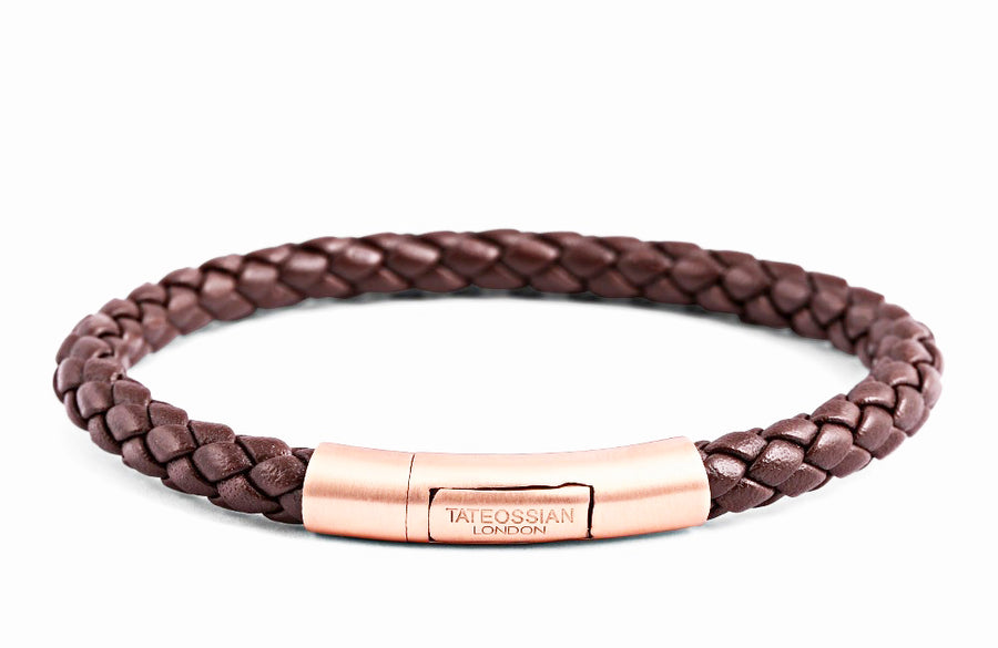 TUBO CHARLES TAITO SILVER BRACELET IN BROWN & ROSE GOLD FINISH
