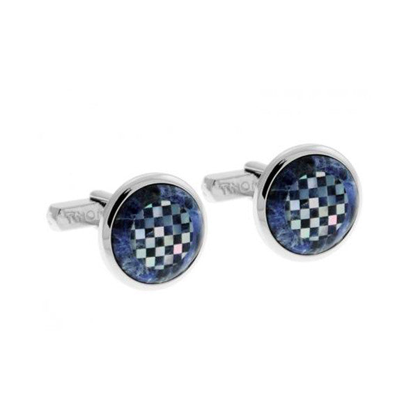 Mosaic Round Cufflinks with Blue Mop and Sodalite
