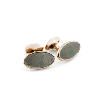 Oval Iridescent and Rose Gold Cufflink
