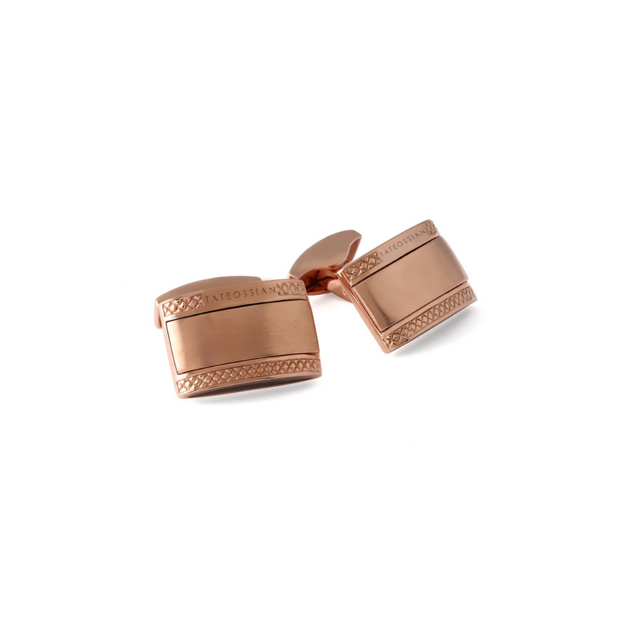 SIGNATURE D-SHAPE RECTANGLE SILVER CUFFLINKS