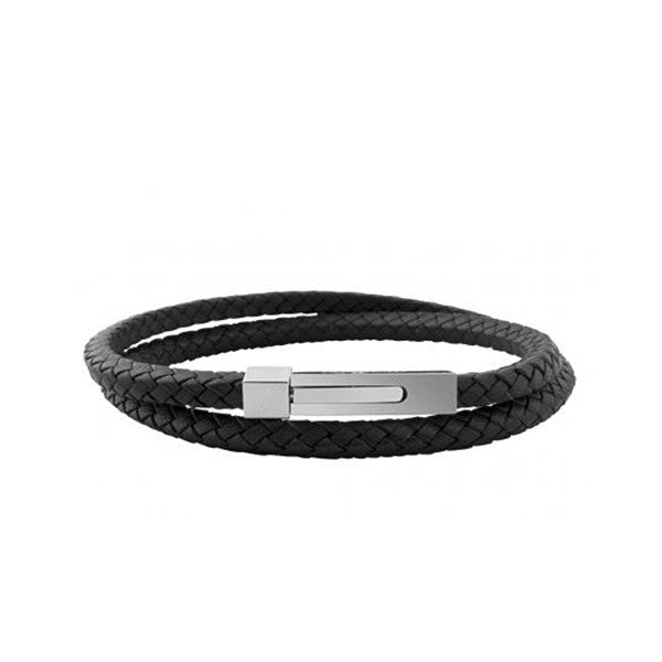 Square Click Leather Double Bracelet in Black