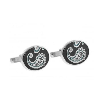 Swarovski Paisley Cufflinks in Black