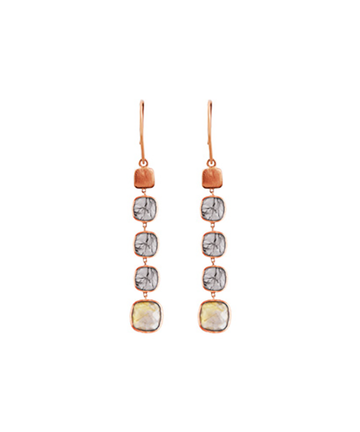 14K Rose Gold Belgravia Drop Earrings with Gold and Black Rutilated Quartz