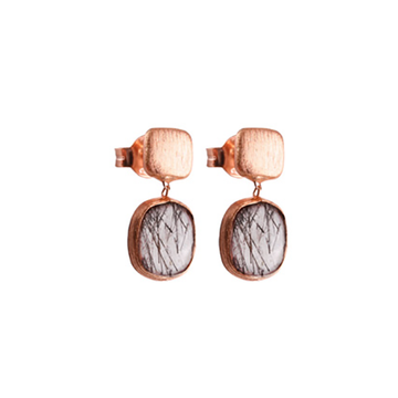 14K Rose Gold Belgravia Earrings with Black Rutilated Quartz