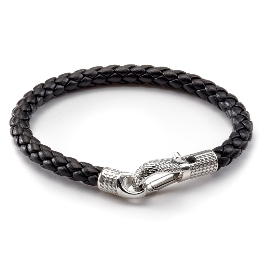 Tateossian Men's Ziggy Black Leather Bracelet with Silver Clasp