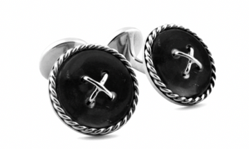 CABLE BUTTON DOUBLE ENDED SILVER CUFFLINKS IN BLACK AGATE