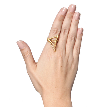 BONES COLLECTION DOUBLE RING IN GOLD