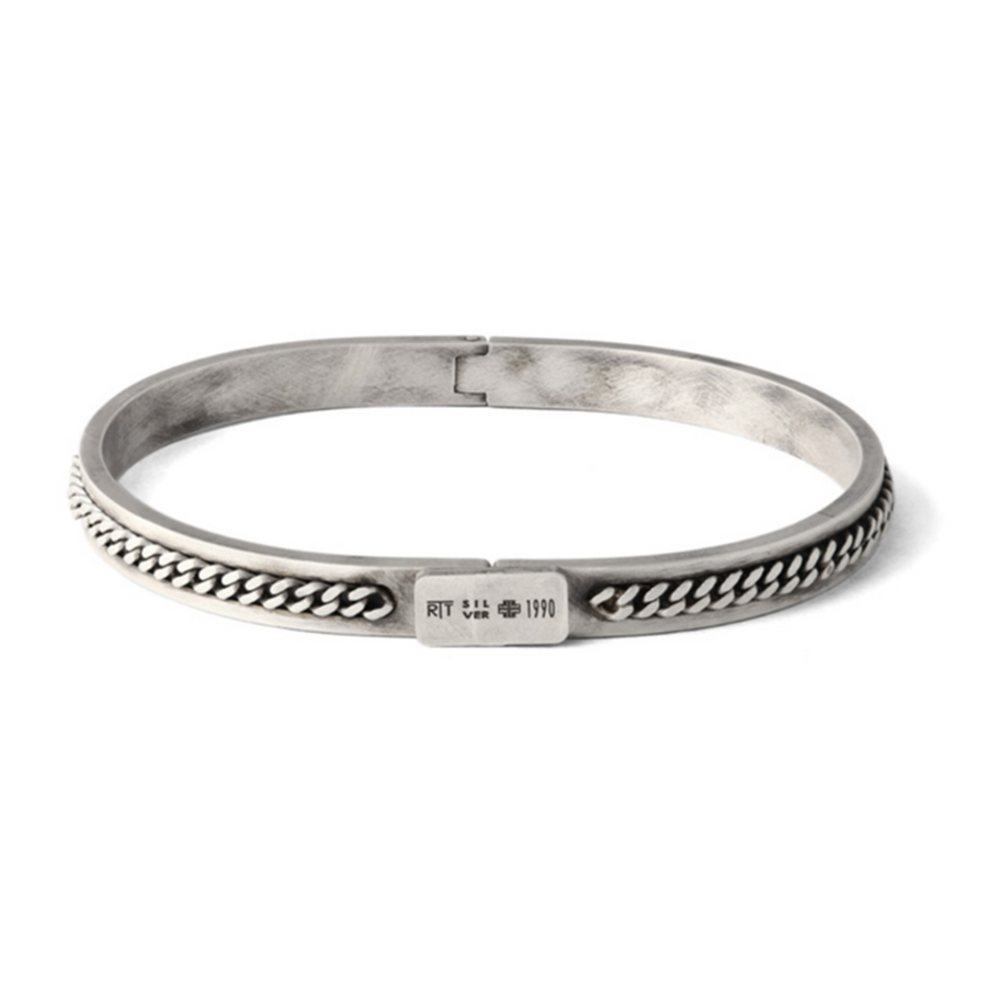 CATENA SILVER BANGLE - OXIDISED FINISH