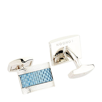 D-SHAPE CUFFLINKS WITH BLUE CARBON FIBRE