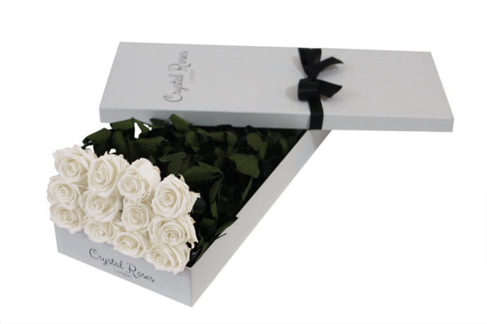 12 White Roses, 12 Preserved White Long Stem Roses, One Year Roses, Gift Box Roses, Roses Delivered - Crystal Roses London