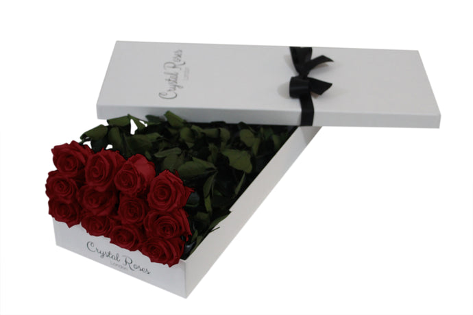 12 Red Roses, 12 Preserved Red Long Stem Roses, One Year Roses, Gift Box Roses, Roses Delivered - Crystal Roses London