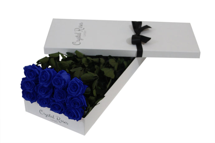 12 Blue Long Stem Preserved Roses, Gift Box Roses, One Year Blue Long Stem Roses, Long Stem Preserved Roses in a gift box, long stem blue preserved roses in a white gift box - Crystal Roses London