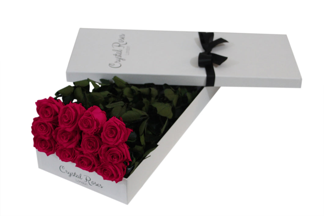 12 Bright Pink Roses, 12 Preserved Long Stem Roses, One Year Roses, Gift Box Roses - Crystal Roses London