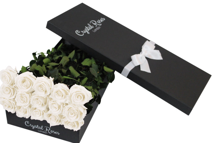 15 White Preserved Roses - Black Box - Crystal Roses London