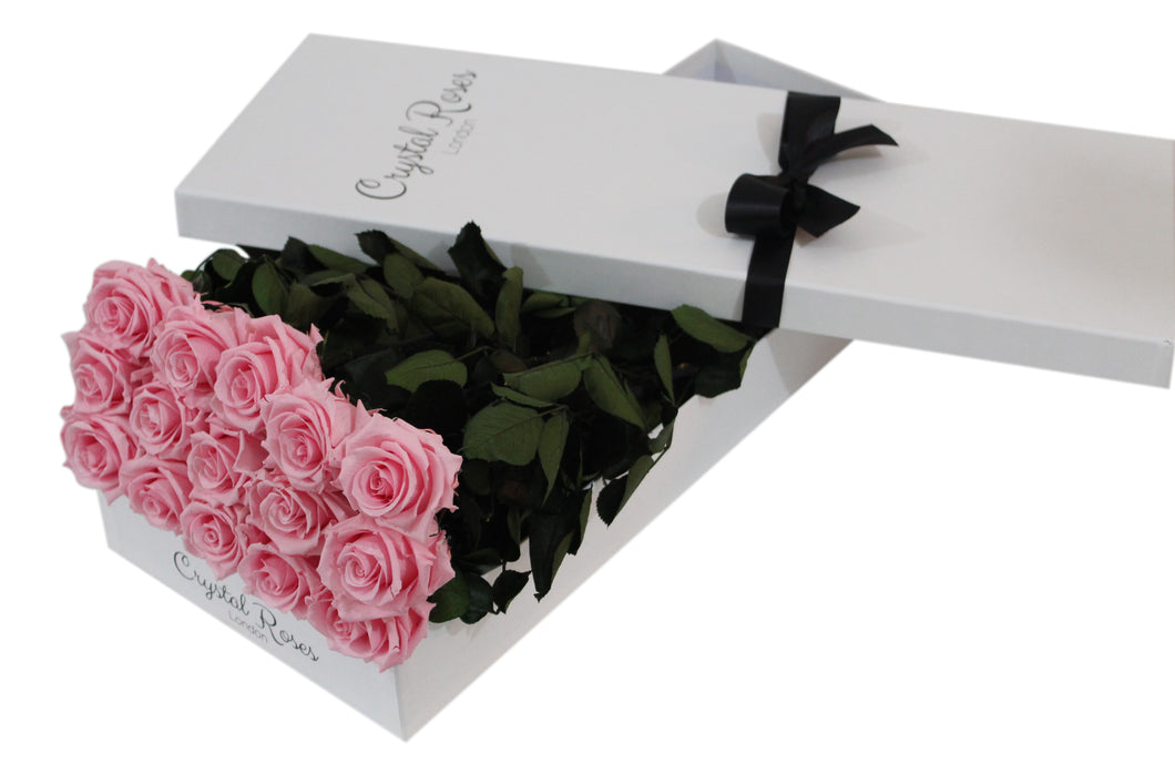 15 Pink Preserved Roses - White Box - Crystal Roses London