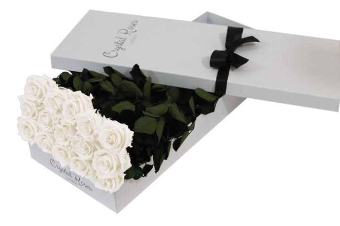15 White Preserved Roses - White Box - Crystal Roses London