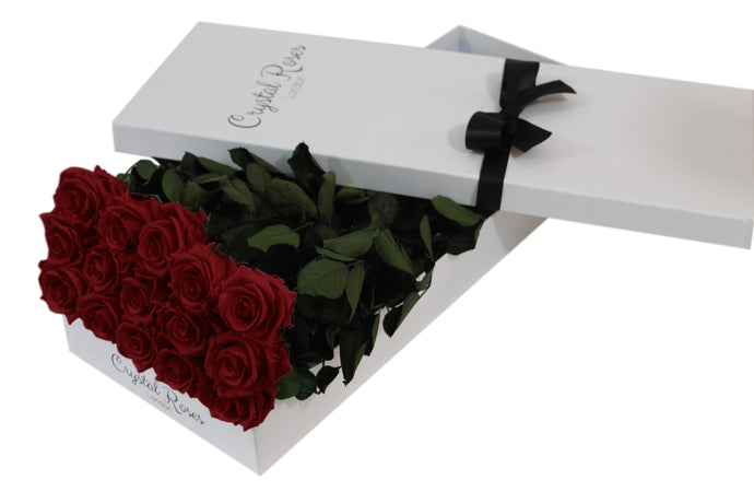 15 Red Preserved Roses - White Box - Crystal Roses London