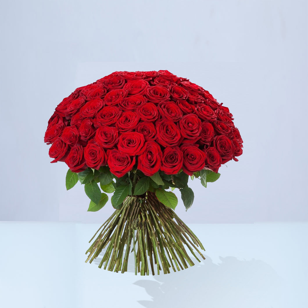 50 Red Rose Bouquet Crystal Roses London