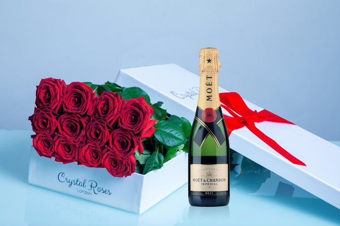 Valentine's Day roses, Valentine's day, red roses and champange, moet, long stem red roses, long stem roses - Crystal Roses London