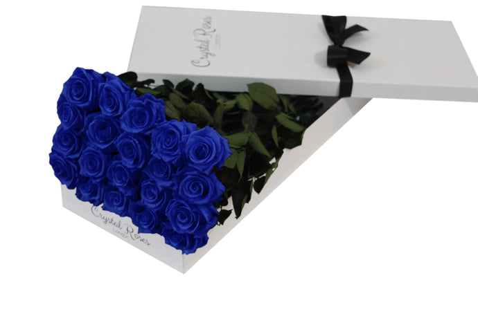 20 Royal Blue Preserved Roses Gift Box Roses, One Year Royal Blue Long Stem Roses, Long Stem Preserved Roses in a gift box, long stem Royal Blue preserved roses in a white gift box - Crystal Roses London
