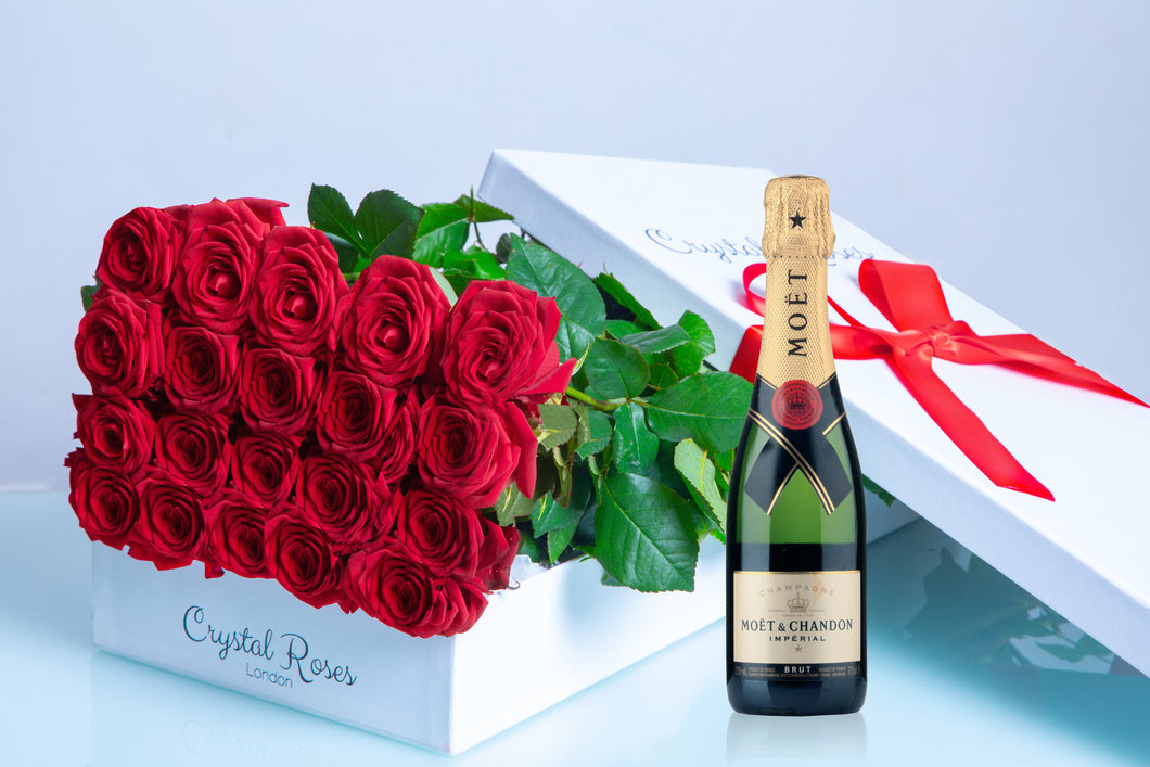 Milestone Birthday Gift Box Roses, Roses, Birthday Roses, Moet & Chandon 375ml - Crystal Roses London