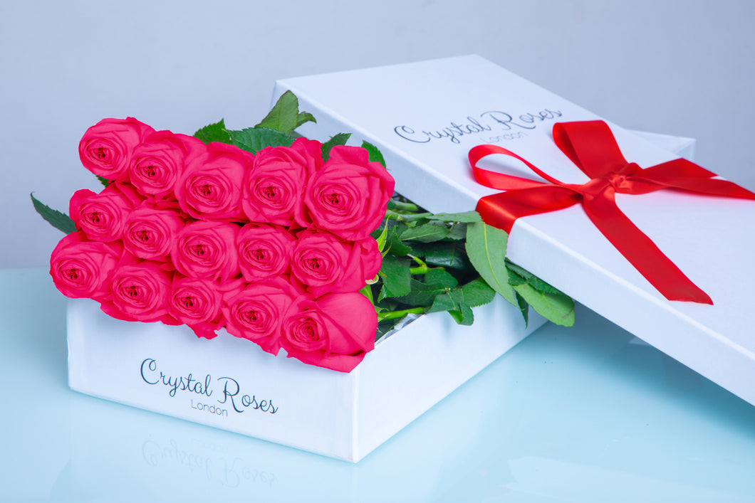 15 Fresh Cut Bright Pink Roses,  Valentine's Day roses, Valentine's day, 15 Bright Pink Gift Box Rose, Gift Box Roses, 15 Bright Pink Long Stem Roses - Crystal Roses London
