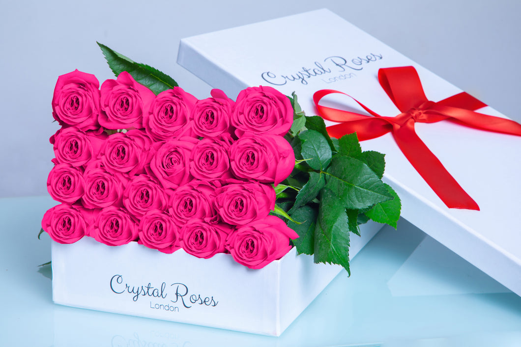 Milestone birthday roses, Fresh Cut Pink Roses,  Valentine's Day Roses, Valentine's Day,  birthday Pink Gift Box Rose, Gift Box Roses, Pink Long Stem roses - Crystal Roses London