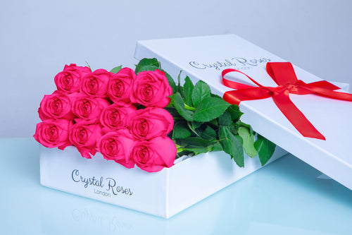 12 Fresh Cut Bright Pink Roses, 12 Fresh Cut Bright Pink Roses, 12 Bright Pink Gift Box Rose, Gift Box Roses, 12 Bright Pink Roses - Crystal Roses London