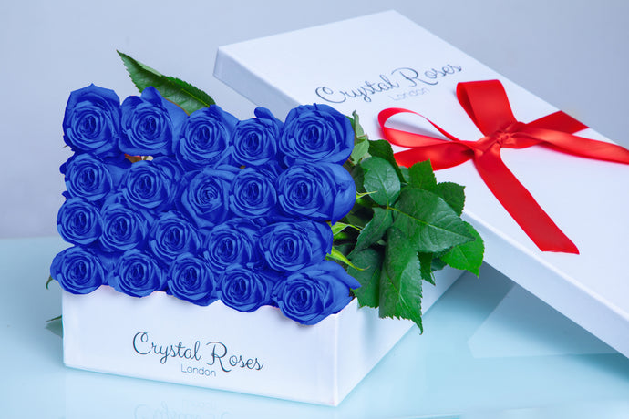 20 Fresh Cut Blue Roses, Valentine's Day Roses, Valentine's Day, 20 Blue Gift Box Rose, Gift Box Roses, 20 Blue Long Stem roses - Crystal Roses London