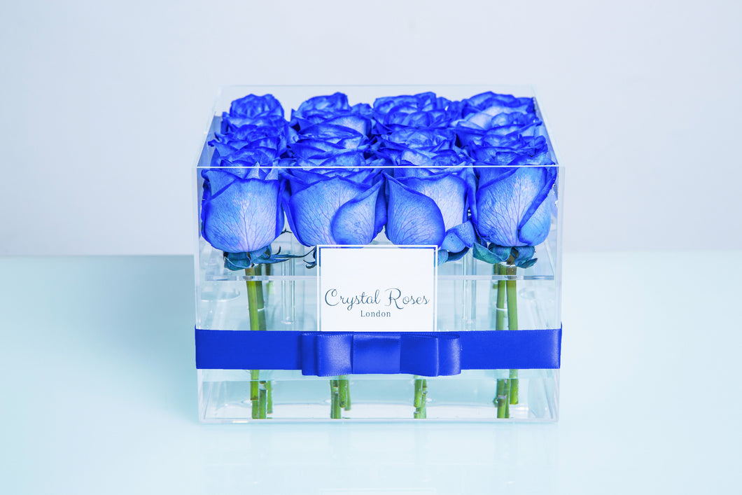 Small Acrylic Box - Fresh Cut Blue Roses, Roses Delivered, Luxury Roses, Gift Box Roses - Crystal Roses London