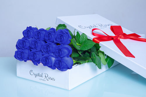 12 Fresh Cut Blue Roses,  Valentine's Day Roses, Valentine's Day, 12 Blue Gift Box Rose, Gift Box Roses, 12 Blue Long Stem roses - Crystal Roses London