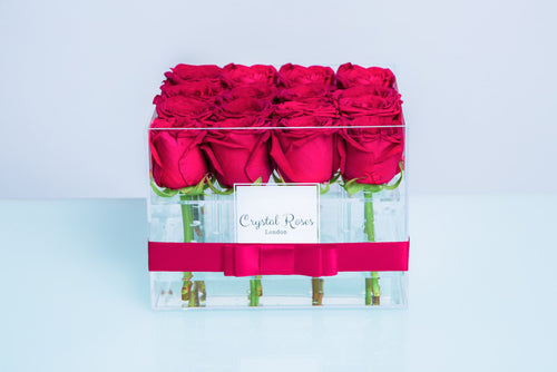 Small Acrylic Box - Fresh Cut Bright Pink Roses - Crystal Roses London