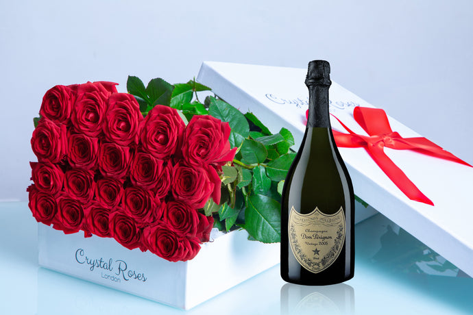 Valentine's Day roses, Valentine's day, red roses and champange, dom perignon, dom perignon vintage, long stem red roses, long stem roses - Crystal Roses London