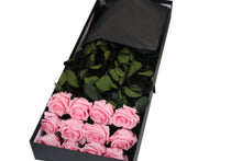 12 Pink Roses, 12 Preserved Long Stem Roses, One Year Roses, Gift Box Roses - Crystal Roses London