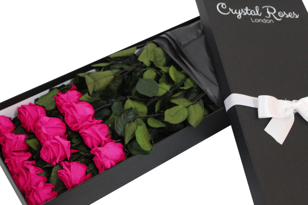 12 Fuschia Pink - Preserved Long Stem Roses