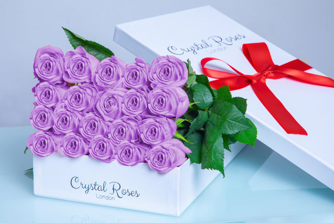 20 Fresh Cut Purple Roses,  Valentine's Day Roses, Valentine's Day, 20 Purple Gift Box Rose, Gift Box Roses, 20 Purple Long Stem roses - Crystal Roses London