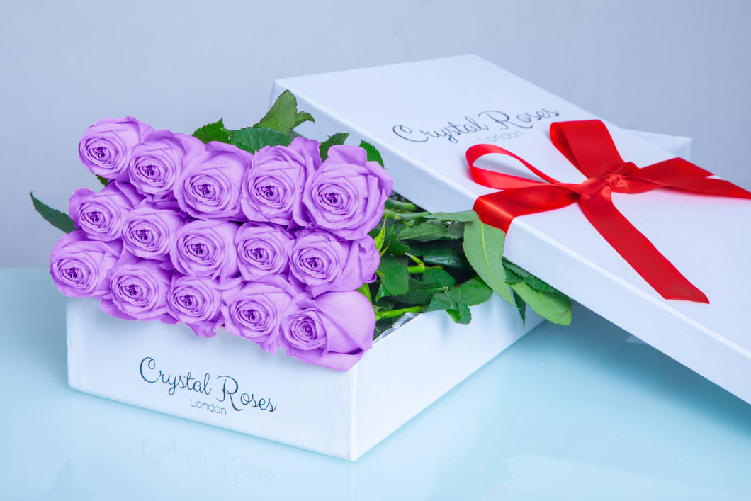 15 Fresh Cut Purple Roses,  Valentine's Day roses, Valentine's day, 15 Purple Gift Box Rose, Gift Box Roses, 15 Purple Long Stem Roses - Crystal Roses London